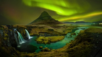 Aurora at Kirkjufell and Waterfall Kirkjufellsfoss, Landmark of