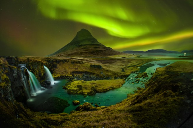 Aurora at Kirkjufell and Waterfall Kirkjufellsfoss, Landmark of