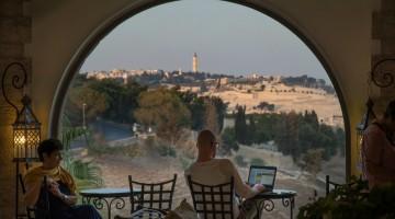 Gerusalemme. Vetrata della hall del Mt.Zion Hotel