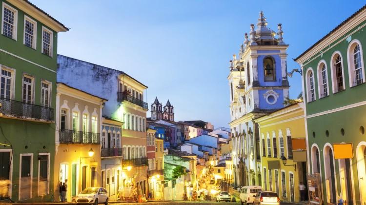Colorful Colonial Houses at Pelourinho, Salvador, Bahia, Brazil