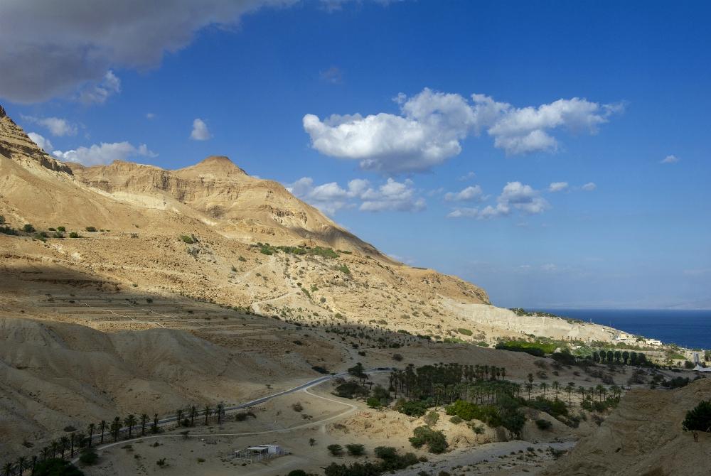 La vista sulle montagne desertiche e sul Mar Morto dalla terrazza panoramica del Kibbutz Ein Gedi