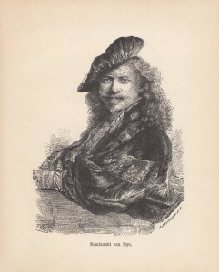 Rembrandt Harmensz. van Rijn, Self-Portrait Leaning on a Stone Sill. Wood engraving after an etching (1639) in the Albertina, Vienna, Austria, published in 1888.