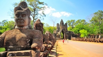 Stone Gate of Angkor Thom in Siem Reap, Cambodia