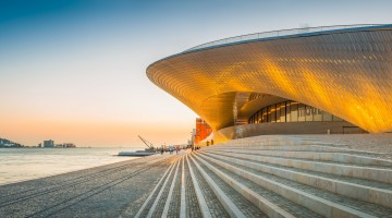 Lisbon MAAT museum art gallery Tagus waterfront sunset panorama Portugal