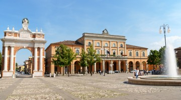 Piazza Marconi in Santarcangelo di Romagna, Italy