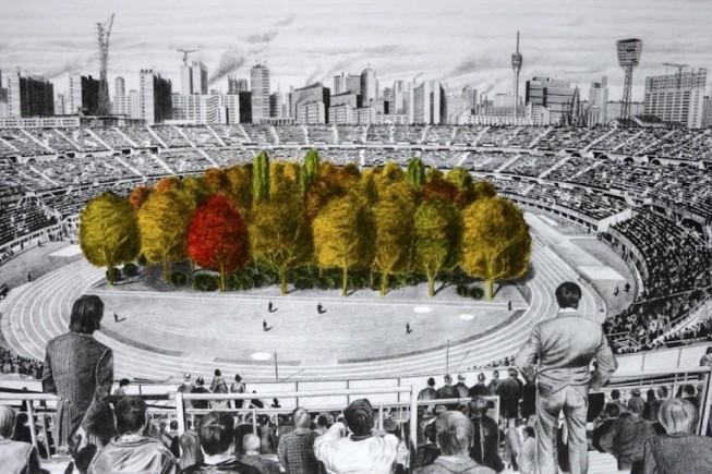 """Max Peintner. """"Die ungebrochene Anziehungskraft der Natur"""", disegno a matita 1970-71, colorato a mano da Klaus Littmann 2018, pezzo unico."""