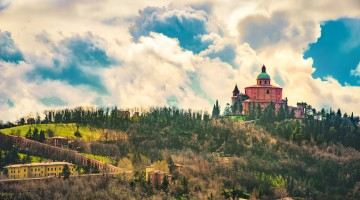 San Luca basilica in Bologna  hills with the long porch archway – Italy
