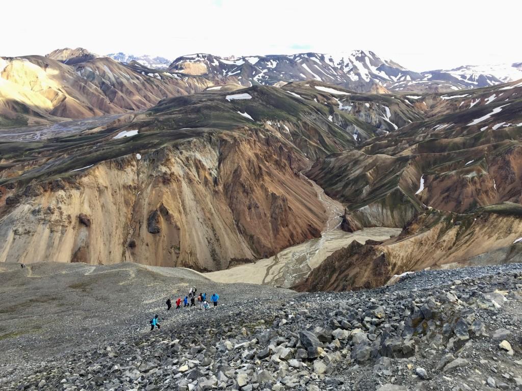 La vista dalla vetta del vulcano Bláhnúkur (940 metri), sulla percorso del Bláhnúkur Circuit