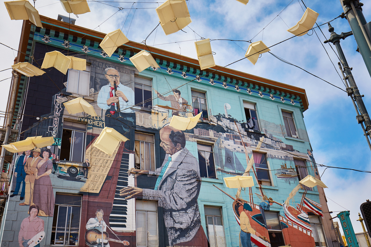 San Francisco, USA - July 29, 2017: Jazz mural by Bill Weber in the street in San Francisco, California, USA