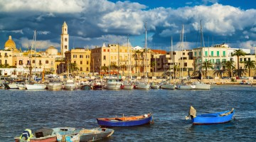 View of a nice fishing harbor and marina in Bari, Puglia region, Italy