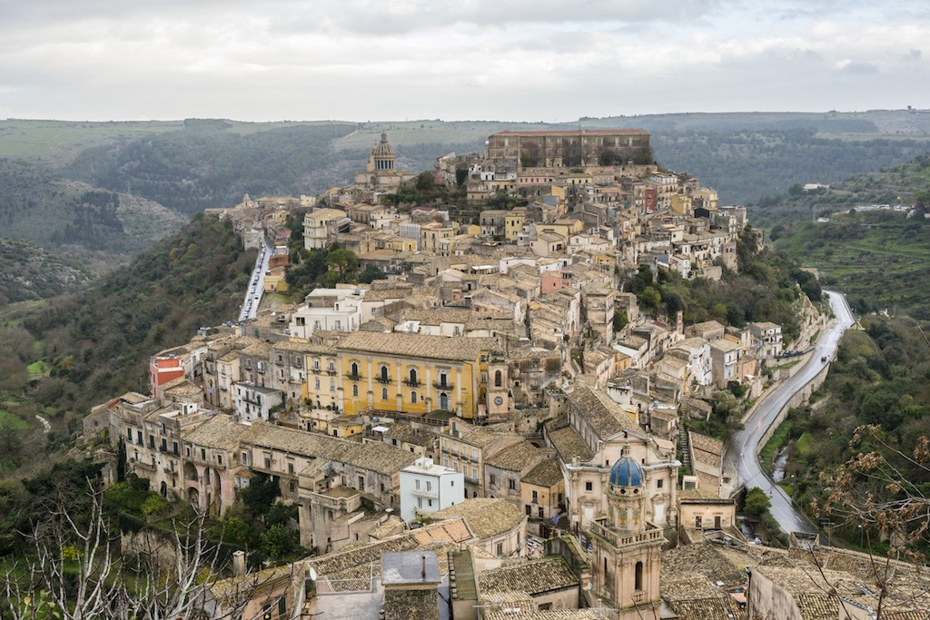 Panoramic view of the old small town Ragusa. Sicily. Italy.
