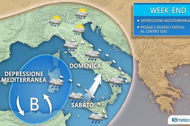 Le previsione meteo del fine settimana