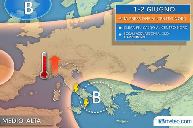 Le previsioni meteo del fine settimana 1 e 2 giugno
