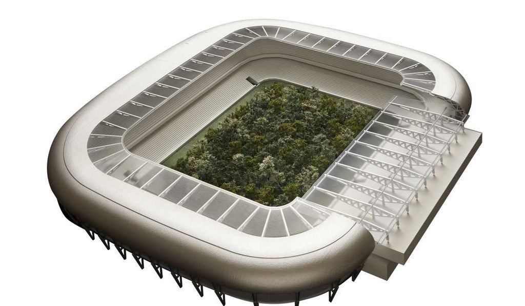 Il rendering: la foresta di alberi nello stadio di Klagenfurt