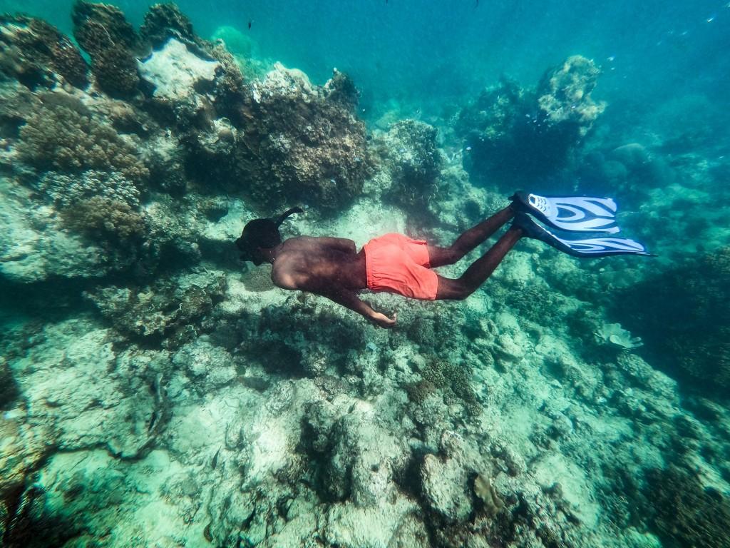 Snorkeling per ammirare la barriera corallina davanti al Coral Lodge Mozambico