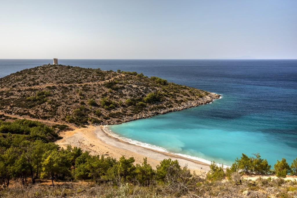 Chios, lla piccole spiaggia naturaei di Trachili