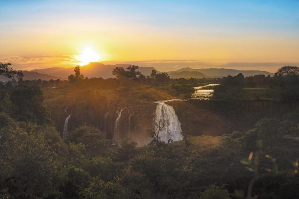 Tramonto sulle cascate del Nilo Azzurro, presso il lago Tana. Ph: Luca Perotta