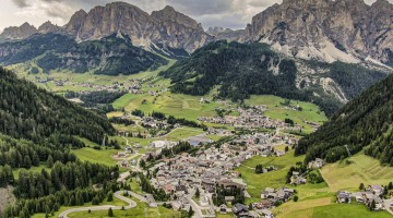 Corvara di Badia in the Dolomites mountains Italy