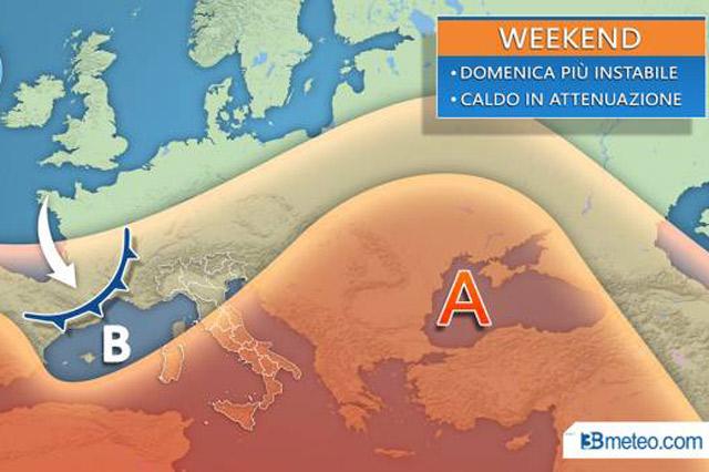 Previsioni meteo 30/8 - 2/9. Clima caldo e probabilità di pioggia da lunedì