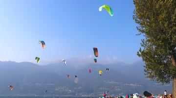 Kiteboarder at Lake Como, Italy
