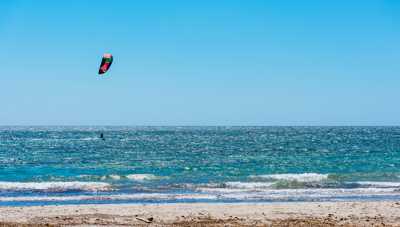 Kite surfing on a clear day in spring