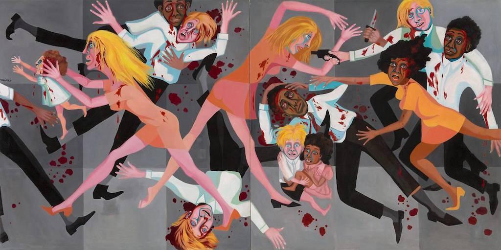 """L'opera del 1967 di Faith Ringgolds """"American People Series #20: Die"""" è appesa accanto ad uno dei dipinti più famosi di Pablo Picasso. (MoMA/Jonathan Muzikar)"""