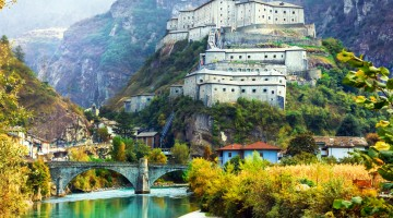 scenery and landmarks of Valle d'Aosta- Bard fortress, north Italy