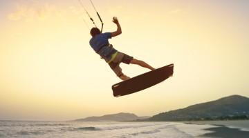 Man doing kitesurfing
