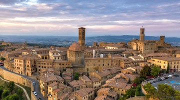 Aerial of Volterra, Tuscany, Italy in Summer - Sunset