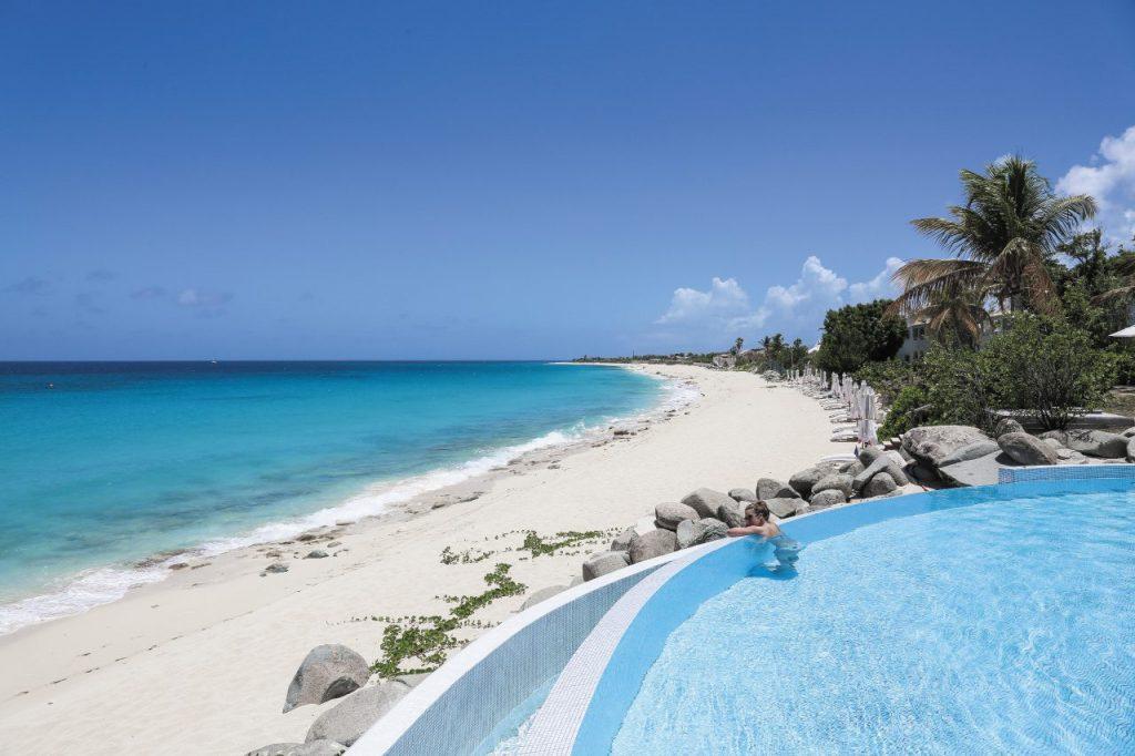 La spiaggia del resort Belmond La Samanna di Saint Martin, isole delle Piccole Antille