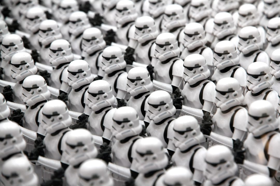 Tokyo, Japan - April 14, 2016: Toy Stormtroopers lined up in ranks. The Stormtroopers are action figures created by the Kotobukiya Toy company. Stormtroopers are enforcer characters from the Star Wars media franchise.