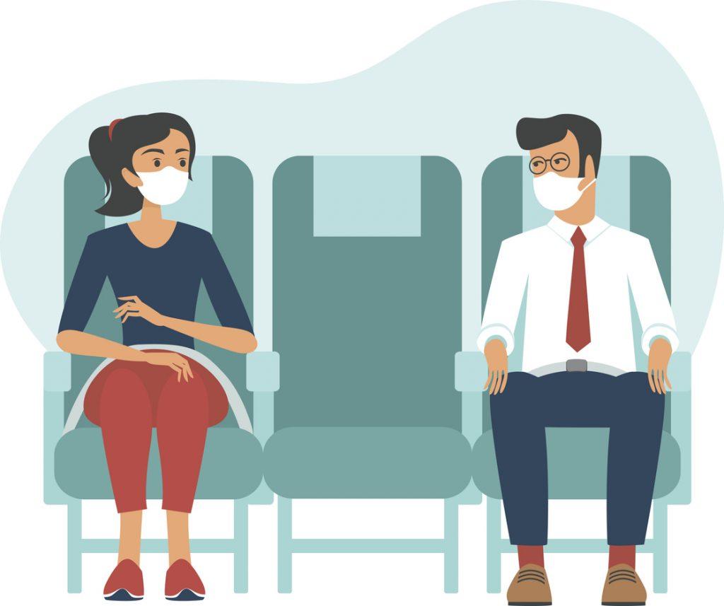 voli aerei cosa cambia: mascherina e distanziamento a bordo