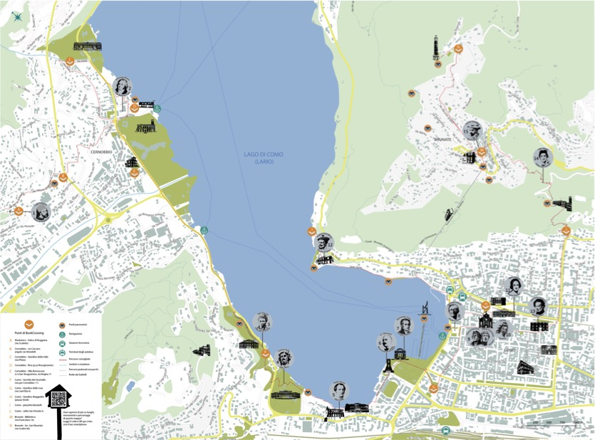 mappa Lake Como Poetry Way itinerario letterario lago di Como