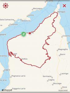 Itinerario in bici da Lezzeno a San Primo, con rientro in discesa da Bellagio. Il percorso ad anello è lungo circa 45 km, con 1450 metri di dislivello.