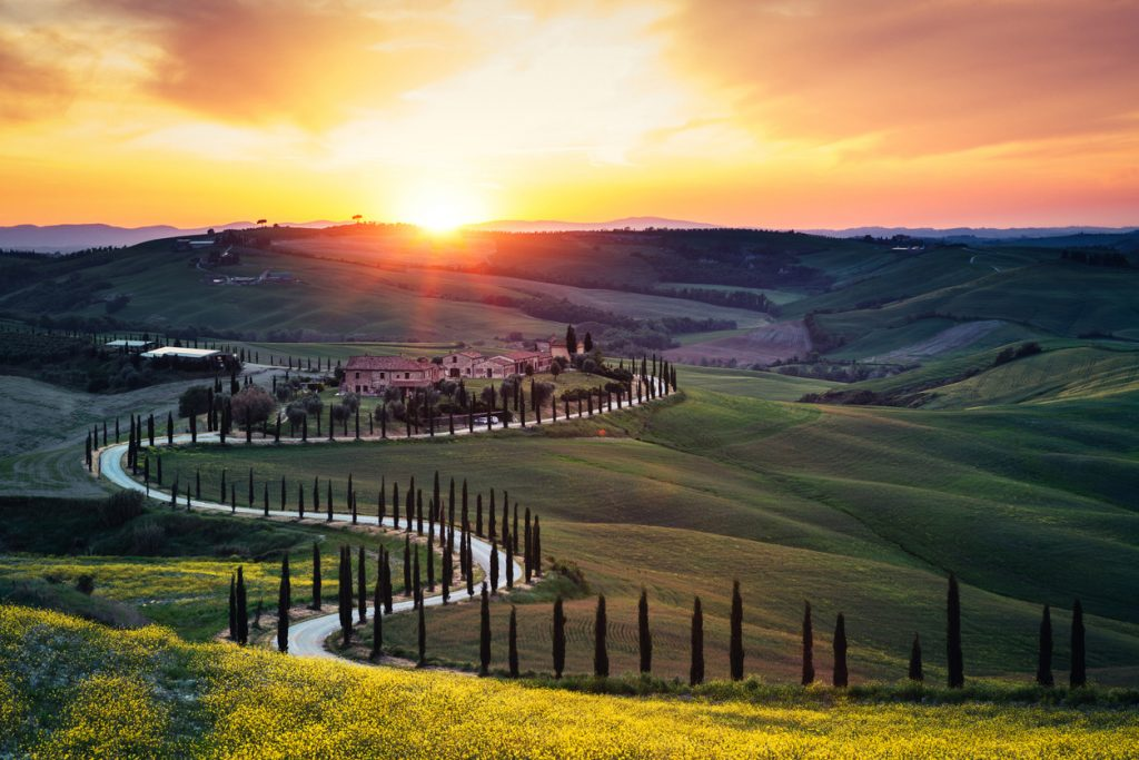 Tramonto in Val d'Orcia (foto iStock)