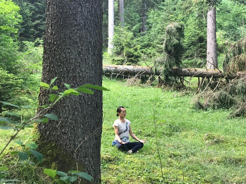 Yoga nella foresta con la maestra Alissa Shiraishi, nella natura della valle di Comano.