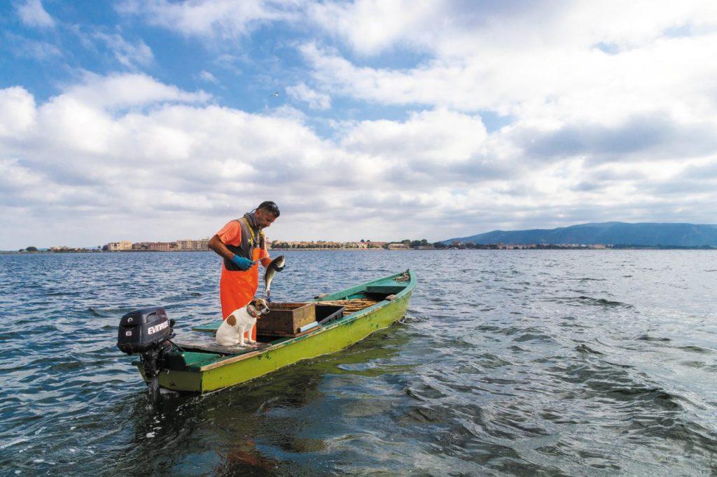 Pescatore al largo di Orbetello