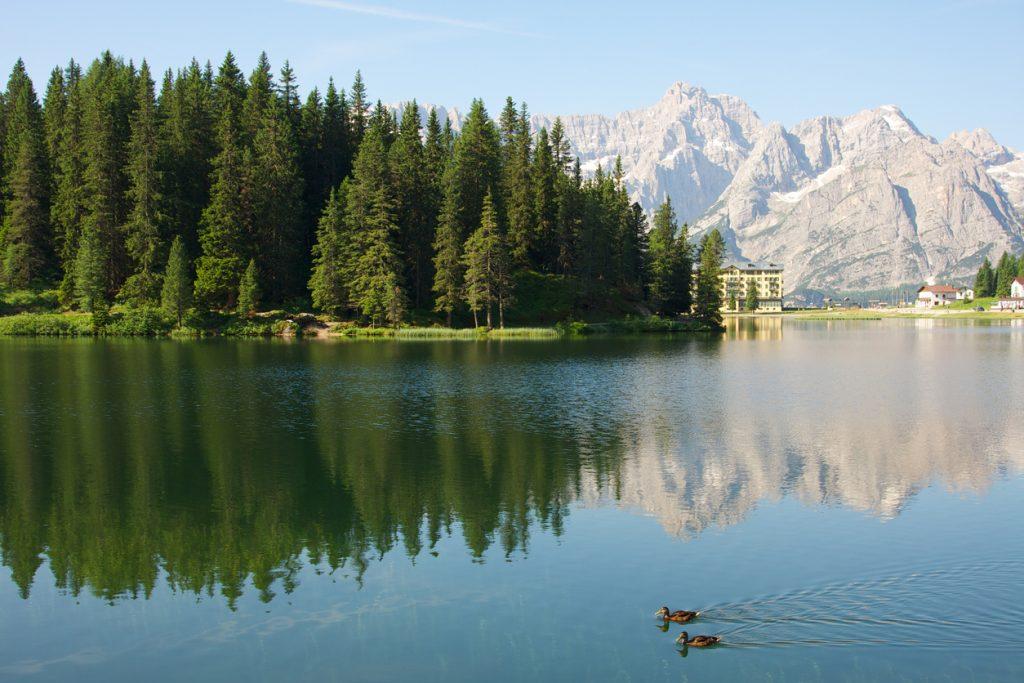 Si può fare a piedi il giro del Lago di Misurina, in Veneto, circondati dal verde e dalla vista delle Dolomiti