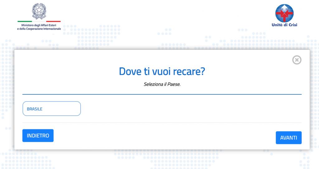 Questionario Farnesina: la schermata con la scelta del Paese di destinazione
