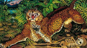 Antonio Ligabue, Leopardo, olio su faesite, 1955 (cm 64x79.7)