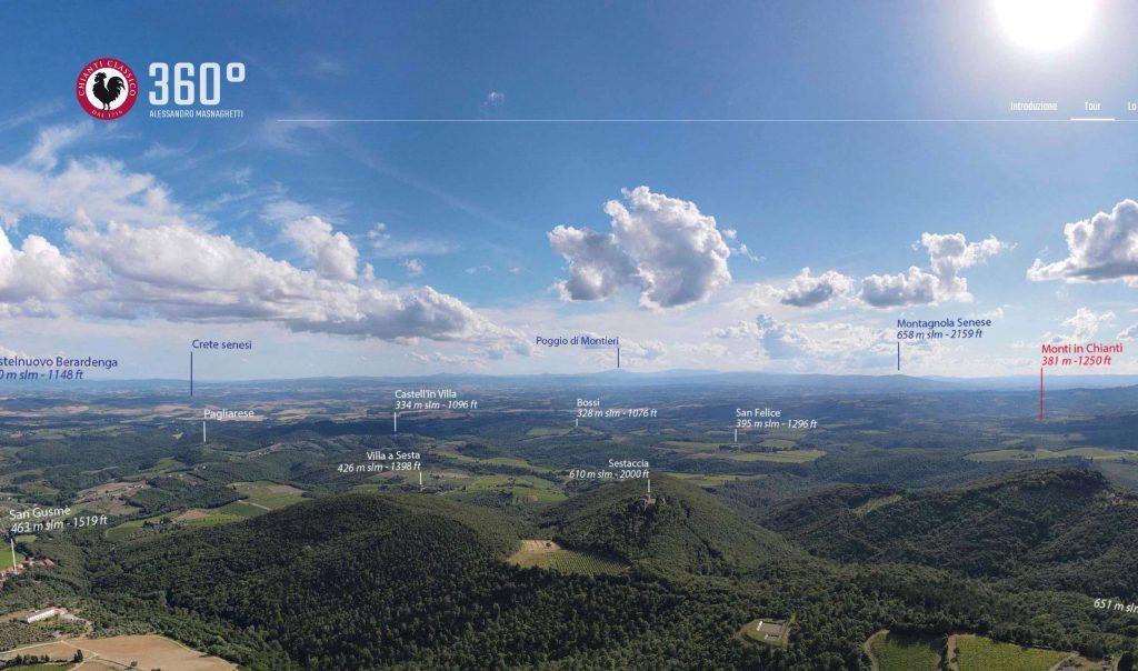 """Una delle immagini a 360° del progetto """"Chianti Classico A colpo d'occhio"""" (ph. Consorzio Vino Chianti Classico)"""