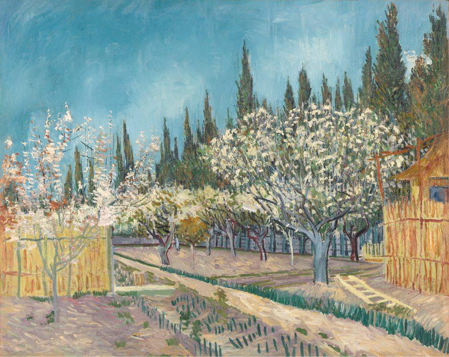 Vincent Van Gogh, Frutteto in fiore (1888), ispirato alle stampe di Hiroshige ed esposto a Padova dal 10 ottobre per la mostra Van Gogh. I colori della vita.