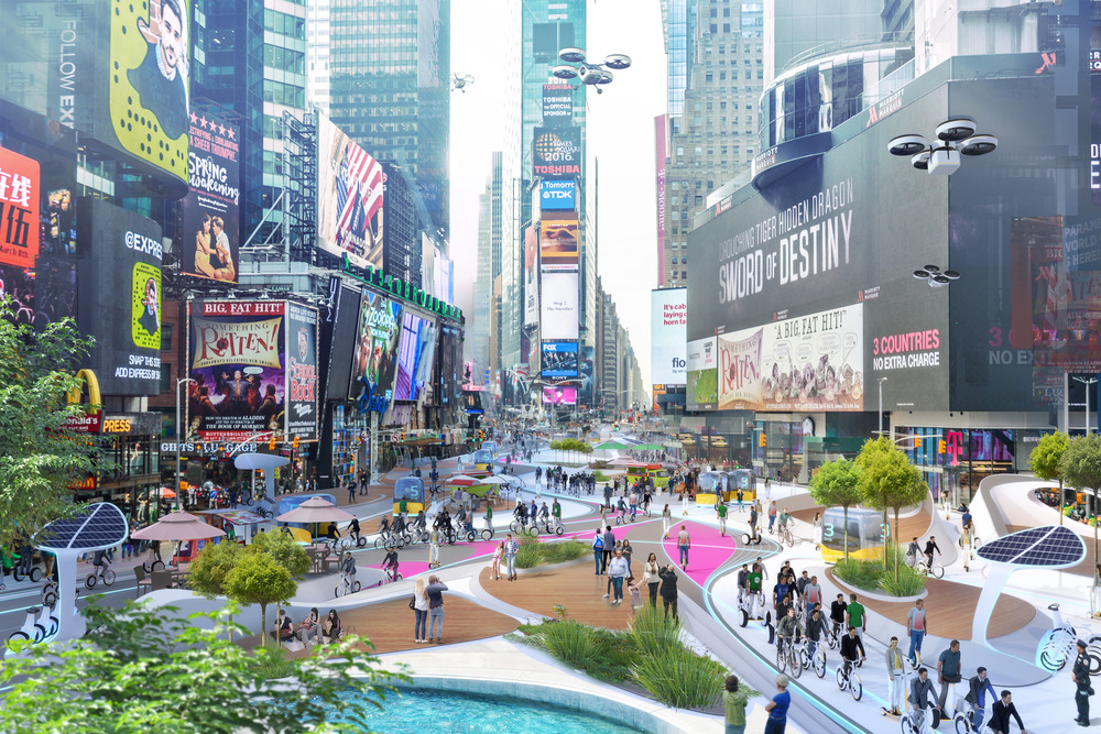 Times Square a New York e le altre piazze: così gli architetti immaginano le città post-Covid