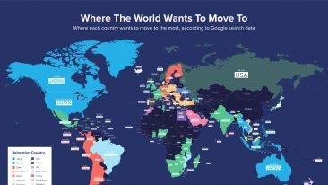 Dove gli italiani e gli altri vorrebbero trasferirsi secondo google