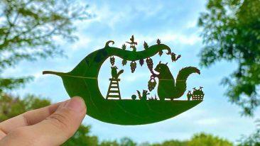 Foglie d'albero come capolavori