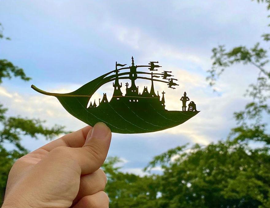 Quando le foglie diventano arte: le splendide miniature di un artista giapponese