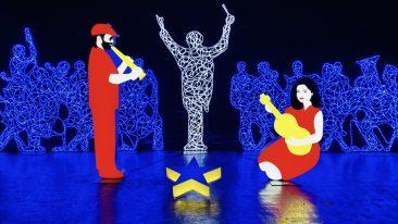 Il presepe pop dell'artita Marco Lodola, intitolato Natività, allestito nelle sale del museo degli Uffizi a Firenze