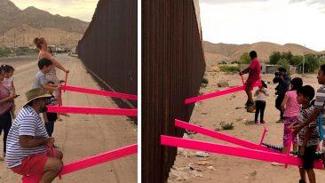 """L'altalena che """"abbatte"""" il muro di Trump. L'opera ha vinto il premio per il miglior design"""