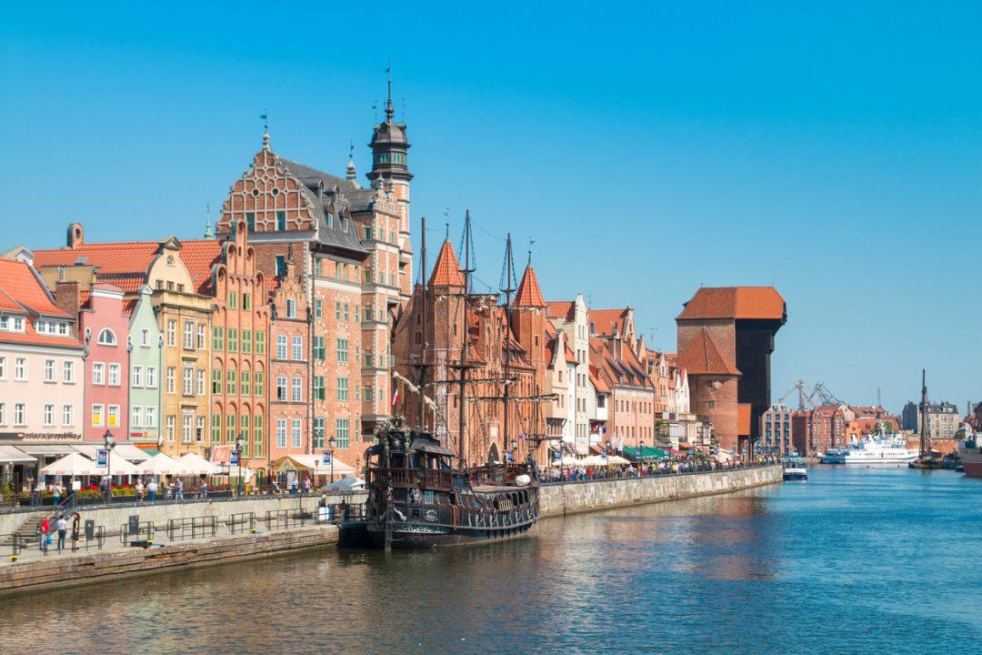 Il vecchio porto di Danzica, Polonia