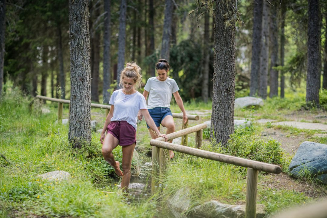 Fare il percorso Kneipp nel bosco